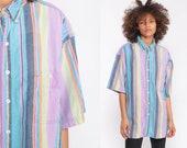 Striped Shirt 90s Grunge Top Oversized Oxford POCKET Cotton Vintage Short Sleeve Button Up Men Blue Purple Lavender Extra Large xl
