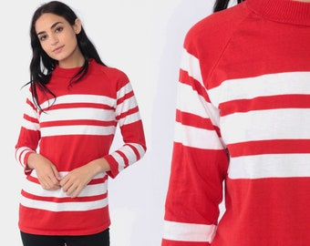 2207577a4b Striped Long Sleeve Shirt 80s Raglan Sleeve T Shirt Red Striped Shirt Mock  Neck White Waldo Retro 1980s Vintage Casual Simple Small Medium