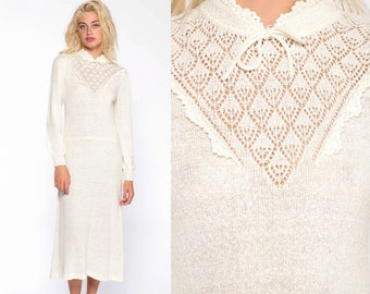 b0d6944803f Off-White Knit Dress 70s Crochet Midi Dress Sweater Dress Boho CUTOUT  Crochet Nubby Puff Sleeve 80s Bohemian Vintage Cut Out Medium Large