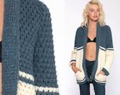 Blue Bohemian Cardigan Ethnic WRAP Sweater 70s BOHO Knit Tribal Chunky Vintage Hippie Aztec Festival 1970s Cream Small Medium
