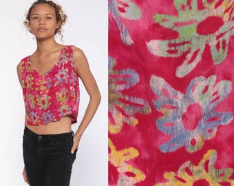 66cff67f9 Tie Dye Crop Top -- Pink Floral Shirt Vintage Boho Tank Top 90s Bohemian  Grunge Hippie Shirt Summer Top Rayon Medium