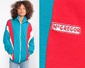 Retro Track Jacket Zip Up Sweatshirt 80s Striped Jacket Turquoise Blue Hipster Red Sport Sweatshirt Retro Vintage Tracksuit Extra Large xl