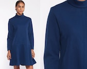 60s Turtleneck Dress Blue Scooter Dress 1960s Mod Mini Drop Waist GOGO Navy Blue Space Age Vintage Long Minidress Twiggy Medium