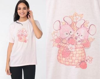 7938f49180df Cute Mouse Shirt Strawberry Basket Kawaii Tshirt 80s Graphic T Shirt 1980s  Screen Print Tee Animal Shirt Vintage Medium Large