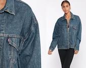 Levis Denim Jacket Medium -- Trucker Jean Jacket 80s Denim Jacket Blue Levi Coat 1980s Vintage Retro Grunge Biker Hipster Small Medium