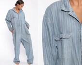 Striped Denim Coveralls Men Jumpsuit Uniform Distressed Garage Uniform Work Wear One Piece Workwear Overalls Large