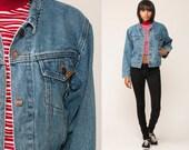 JORDACHE Denim Jacket 80s Jean Jacket Grunge Biker Trucker Blue 1980s Vintage Button Up Hipster 90s Small