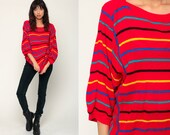 Slouchy Sweater Boat Neck 80s Striped Pullover Boho Knit Red Sweater 3/4 Sleeve Boatneck Bohemian Retro Vintage 1980s Extra Large xl
