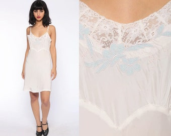 White 1940s Slip Dress -- Rayon Lingerie Nightgown 40s Mini Lace Sheer  Lingerie Night Gown Bias Cut Vintage Spaghetti Strap Small 5720fc6da