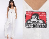 Ben Davis Overalls USA -- Workwear 90s Grunge Baggy Bib White Cotton Pants Work Wear Long 1990s Cargo Vintage Dungarees Small Medium