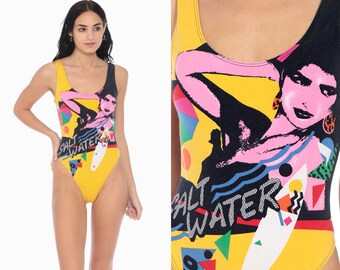3d3b51eefbb High Cut Leotard SALT WATER 80s Leotard Aerobics Tank Bathing Suit 90s  Vintage Surfer Beach Body Suit Surf Swimsuit New Wave Small
