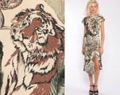 Animal Print Dress Safari Tiger Dress Pencil 80s Midi Party Keyhole Lion Dress 1980s Vintage Cap Sleeve Sheath Minidress Extra Small xs