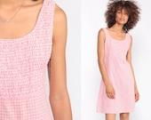 Summer Dress 90s Sundress Grunge Mini Pink Plaid Dress Checkered Dress Sun 1990s Smocked Vintage Shift Boho Sleeveless Extra Small xs