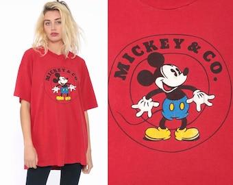 9c40495aa Mickey & Co Shirt 90s Mickey Mouse Tshirt Walt Disney Shirt Streetwear  Graphic Cartoon T Shirt Red Vintage Retro Tee Extra Large xl
