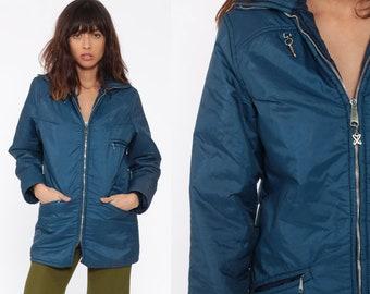 1070be1ab52 Blue Winter Coat -- Retro Ski Jacket Puffer Jacket 70s Puffy Coat Puff  Retro 1970s Vintage 80s Jacket Small