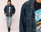 80s Denim Jacket Jean Jacket Blue Trucker Jacket PLAID LINED 1980s Vintage Biker Button Up Hipster Medium