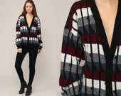 80s Cardigan Striped Sweater Black Grey Red Boho Cozy Button Up Knit 1980s Preppy Grandpa Vintage Retro Oversize Medium Large