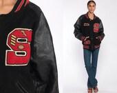 1988 Black Letterman Jacket 80s Wool Varsity Jacket LEATHER Football Jacket Sean Bomber Jacket School Coach 1980s Vintage Extra Large xl l