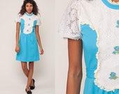 Puff Sleeve Dress 60s Mod Mini LACE Party Boho Lolita Dolly Vintage 1960s Blue Bohemian High Waisted 70s Bib Dress Extra Small xs