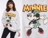 Minnie Mouse Sweatshirt Grey Disney Sweater 80s Shirt Pin Up Cartoon Graphic Print 90s Vintage Hipster Kawaii Retro Large