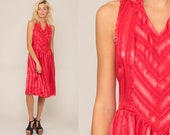 Red Striped Dress CHEVRON Dress 70s Dress Midi Dress Boho High Waisted Vintage Retro Sleeveless Bohemian 80s Retro Small