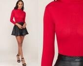 Turtleneck Bodysuit Top 70s Red Body Suit Long Sleeve Leotard SHEER Shirt 1970s Blouse Vintage High Neck Bohemian Small