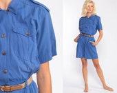 Safari Romper Playsuit Blue One Piece 80s Button Up Vintage Jumpsuit Shorts 1980s High Waist Cargo Cotton Pocket Short Sleeve Small