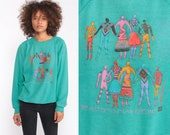 90s Sweatshirt TRIBAL PRINTED PEOPLE Slouchy Graphic Shirt Pullover 80s Tribal Statement Jumper Vintage Turquoise Green Large