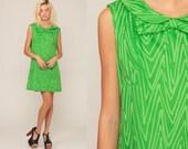 Mod Mini Dress Peter Pan Collar Dress 60s Shift Green Bow Party ZIG ZAG Striped 1960s Hippie Vintage Sixties Twiggy Gogo Sleeveless Large