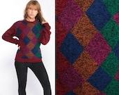 Geometric Sweater 80s Wool Sweater Grunge DIAMOND Print Boho Knit Jumper 1980s Bohemian Hipster Red Vintage Pullover Small Medium