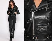 Vegan Leather Jacket xs 80s Black MOTORCYCLE Crop Biker Faux Fake Leather Vinyl 1980s Vintage Moto Punk Rock Coat Zippered Extra Small xs
