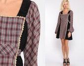 Plaid Babydoll Dress Boho Mini Puff Sleeve 70s Mini Dress Jody T California CORDUROY Black Red Checkered Empire Waist Dolly Vintage Small