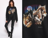 Wolf Sweatshirt 90s Animal Print Shirt Minnesota Shirt Jumper Graphic Wildlife Sweater Slouch Shirt 1990s Vintage Hipster Extra Large xl