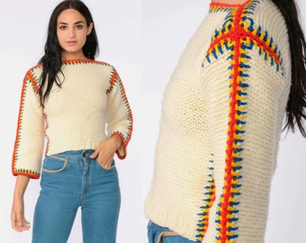 d7830ed5ca Cream Sweater 70s Boho Sweater Pullover Sweater Acrylic Knit Sweater  Boatneck Striped 1970s Bohemian Hippie Vintage Boat Neck Extra Small xs