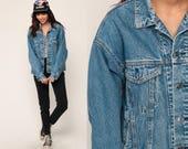 80s Jean Jacket Denim Jacket Blue Stone Wash Trucker PLAID LINED 1980s Vintage Biker Button Up Hipster Large