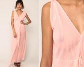 Sheer Nightie Pink Nightgown Lingerie Nightgown Pastel Slip Dress 70s Maxi Vintage Boho High Waist PLEATED Romantic Bohemian Small Medium
