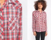 Pearl Snap Shirt Western Shirt 70s Red Plaid Shirt 80s Button Down up Vintage Long Sleeve Hipster Small