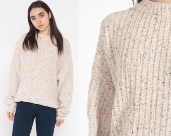 d6e3d53b77f19b Beige Flecked Sweater 80s LL Bean USA Knit 90s Pullover Cozy Plain Simple  Staple Grunge Slouch Oatmeal Boho Jumper Vintage Medium Large