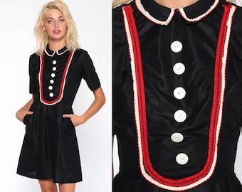 2999656c70ad9 Mod Gothic Dress 60s Peter Pan Collar Mini Party Lolita Black Bib Goth  Wednesday Addams Short Sleeve 1960s Vintage Shift Extra Small xs