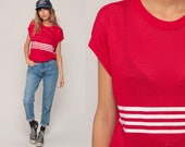 Sheer MESH Top Striped CAP SLEEVE Blouse Cut Out T Shirt 80s Shirt Vintage Slouchy Retro Red White Large