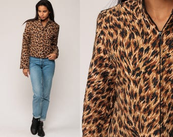 3a5fb973d065 Leopard Print Jacket 90s Grunge Animal Jacket Tapestry Zip Up 80s Vintage  Extra Small xs