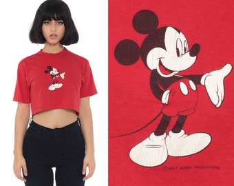 ad304299e3ce1 Mickey Mouse Crop Top Kawaii TShirt 90s Disney Shirt Crop Top Red Tee  Graphic Cartoon T Shirt Disneyland Vintage Retro Tee Extra Small xs