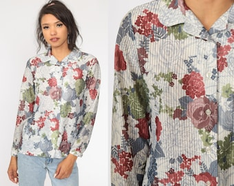 70s Rose Print Top  Vintage Floral Shirt  Women Small Top  Boho Bohemian Shirt  Button Up Collared Blouse  Long Sleeve Retro Top Size S