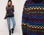 Fair Isle Sweater 80s FUNNEL NECK Sweater Rainbow Sweater Norwegian Nordic Print Striped Pullover 1980s Vintage Knit Bohemian Medium
