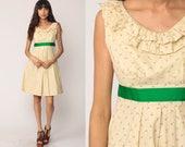 Boho Dress 70s Mini Calico Floral Print Babydoll 1970s Vintage Empire Waist RUFFLE Bohemian Cream Green Sleeveless Small