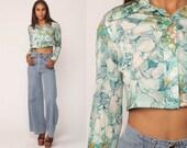 Boho Shirt PEAR FRUIT Blouse 70s Boho Crop Top Floral Button Up Novelty Print Bohemian Long Sleeve 1970s Vintage Hippie Blue Small