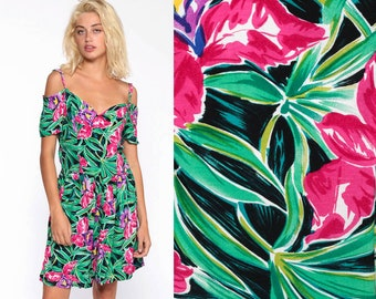 3216ed12c7b6 Off Shoulder Romper Dress 80s Floral Tropical Sundress Mini Jungle Green  Pink Cold Shoulder Vintage 1980s Bohemian Summer Medium