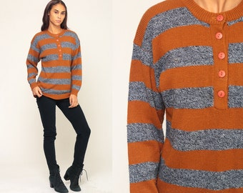 18549eef5b Pullover Sweater Striped Sweater 80s Knit Slouchy Boho Pullover Burnt Orange  Half Button Up Nerd 1980s Vintage Grey Retro Medium