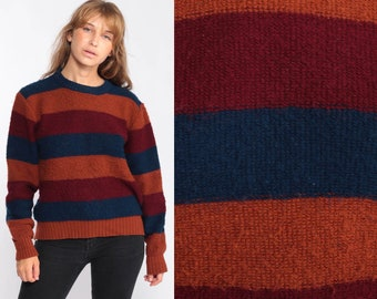 a7b801645f Striped Sweater 80s Knit Grunge Sweater Burnt Orange Navy Blue Slouch  Hipster 1980s Jumper Vintage Pullover Retro Small Medium