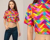 Rainbow Crop Top Hippie Shirt Geometric Blouse 70s Cropped Shirt 1970s Short Sleeve Neon Shirt Turtleneck Shirt Vintage Small Medium